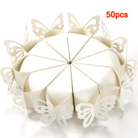 FJS 50 Pcs Butterfly Favor Gift Candy Boxes Cake Style For Wedding Party Baby Shower White