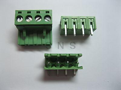200 pcs 5.08mm Angle 4 pin Screw Terminal Block Connector Pluggable Type Green 3 pin curved screw terminal block connectors green 20 piece pack