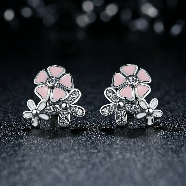 Silver color poetic daisy cherry blossom pandora drop earrings mixed silver color poetic daisy cherry blossom pandora drop earrings mixed clear cz pink flower earrings mightylinksfo