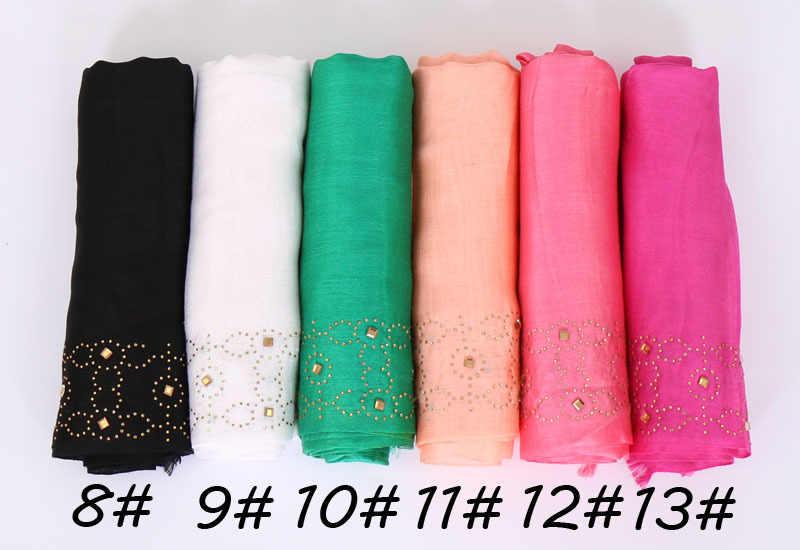 Оптовая продажа Малайзийских женщин Тюрбан Хиджаб обертывание блестящие золотые стразы мусульманский сатиновый хиджаб шарфы и шали популярный хлопковый головной платок