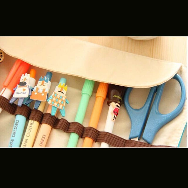 Rolling Canvas Girls Pencil Bag Multi-pocket 3352 Light & Portable Pen Bag Colorful Option Storage Bag for School StudentsTidier