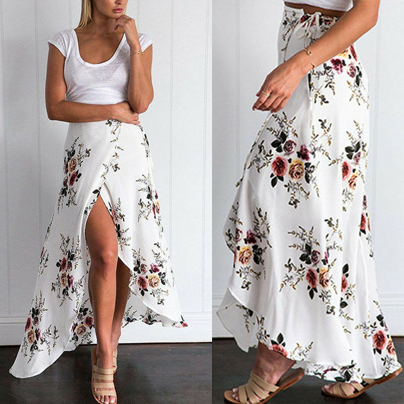 2018 New Summer Hot Women Stretch High Waist Floral Long Skirt Maxi Pleated Beach Casual Boho Polyester Floor-length Skirt W3