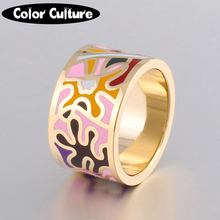 Promotions Hurry Flower Enamel Ring Gold-color Enamel Geometric Patterns Ring 1.3CM Big Rings for Women Ethnic jewelry(China)