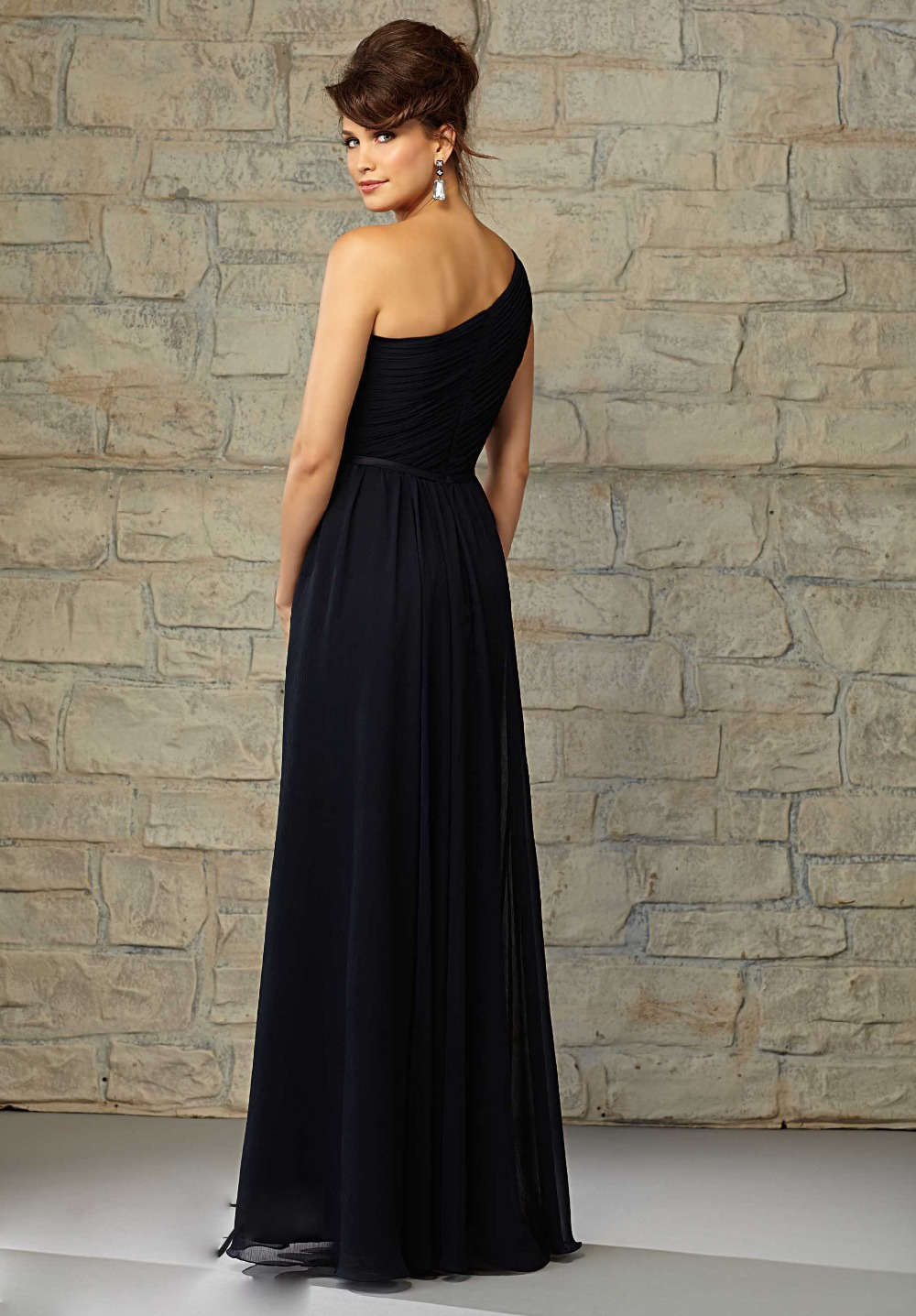 vestido longo Elegant Long One Shoulder Black Chiffon Bridesmaid Dresses Prom Gown Sleeveless Vestido dress for weddi in Bridesmaid Dresses from Weddings Events