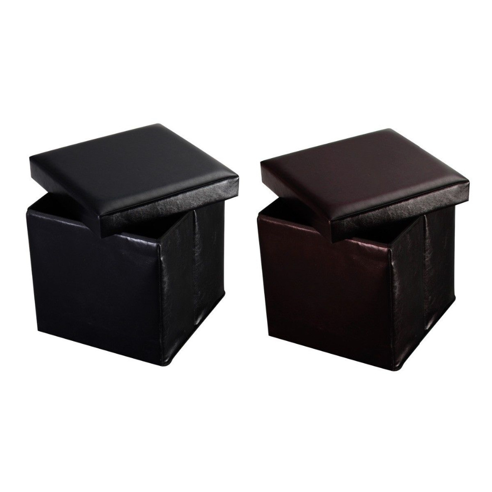Giantex Folding Cube Faux Leather Ottoman Pouffe Home Living Room Storage Box Lounge Seat Modern Foldable Footstools HW47612 brown foldable storage ottoman by urban port