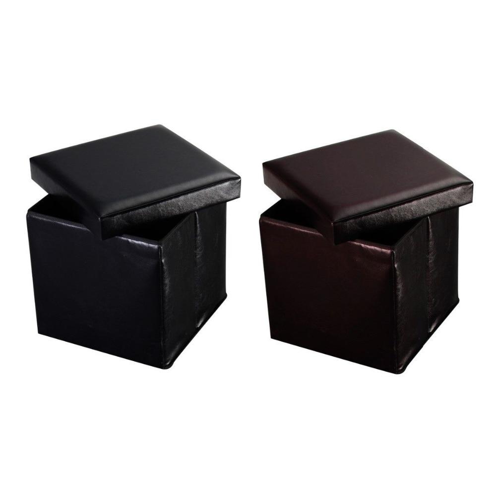 Storage Leather Ottoman Cube