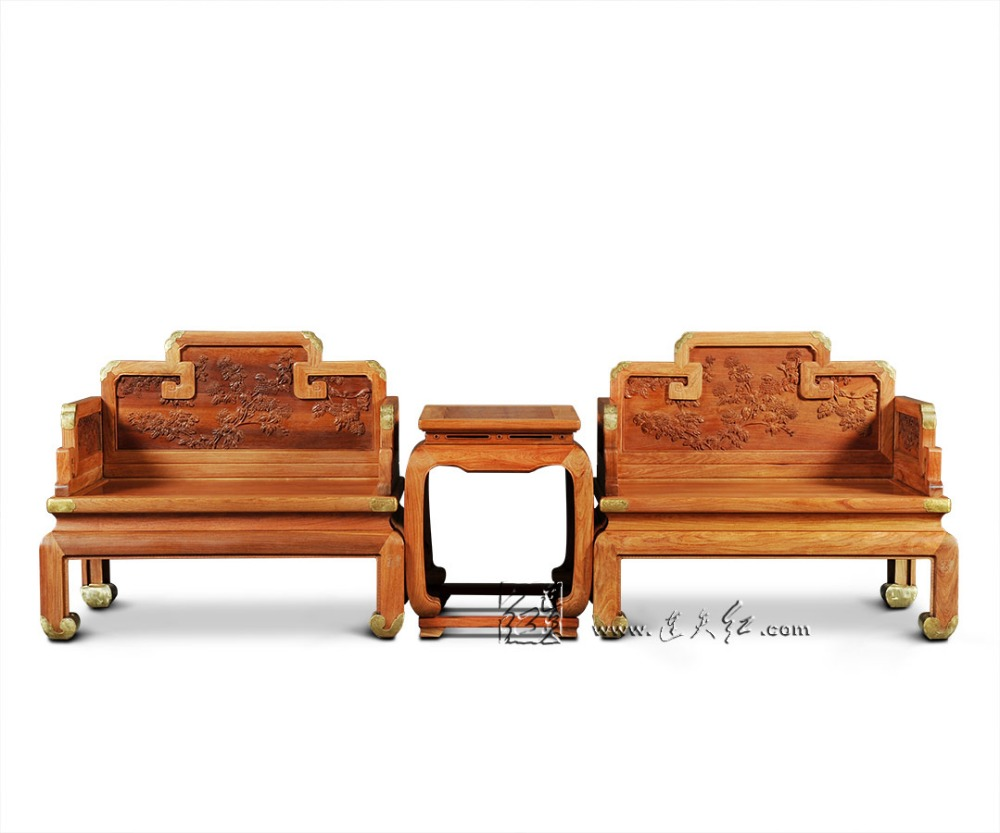 Drawing Room Furniture Set 2 Burma Rosewood Throne and 1 Small Tea Tables Sold Wood Backed Armchair Redwood Chairs Coffee Desks classical rosewood armchair backed china retro antique chair with handrails solid wood living dining room furniture factory set