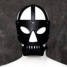 PU Leather open eye mask headgear SM hood head harness bondage restraint adult devil costume sex game toy for women men couples