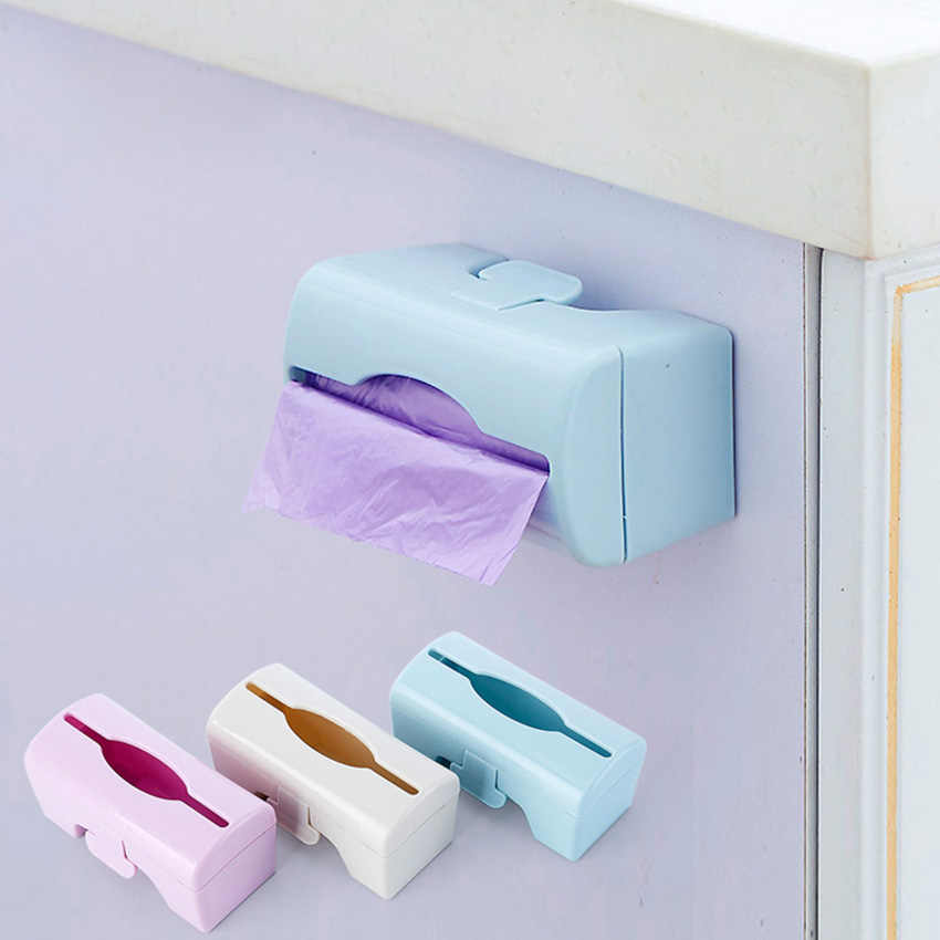 1PC Plastic Bag Storage Box Wall mounted Trash Bags Cases Dispenser HOT Kitchen Bathroom Accessories