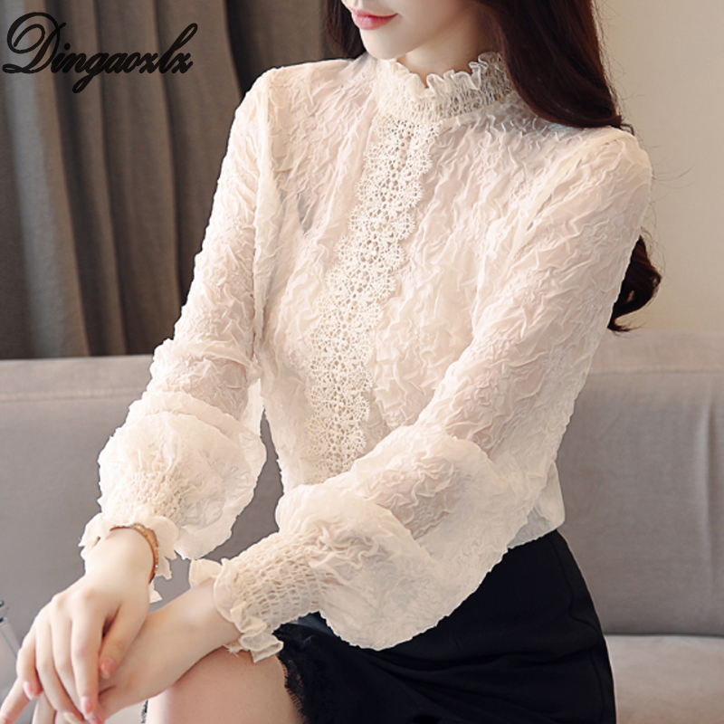 Dingaozlz New style Women lace Tops embossing spliced ear Chiffon   shirt   High necked Lantern sleeve Casual Ruffles lace   blouse