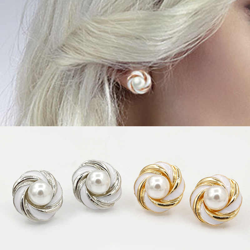 New Fashion Hot Selling Earrings Cross Drip Gold Silver Black White Stripes Pearl Stud Earrings Pearl Jewelry Earrings For Women