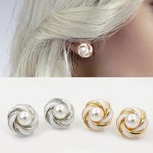 New Fashion Hot Selling Earrings Cross Drip Gold Silver Black White Stripes Pearl Stud Earrings Pearl Jewelry Earrings For Women
