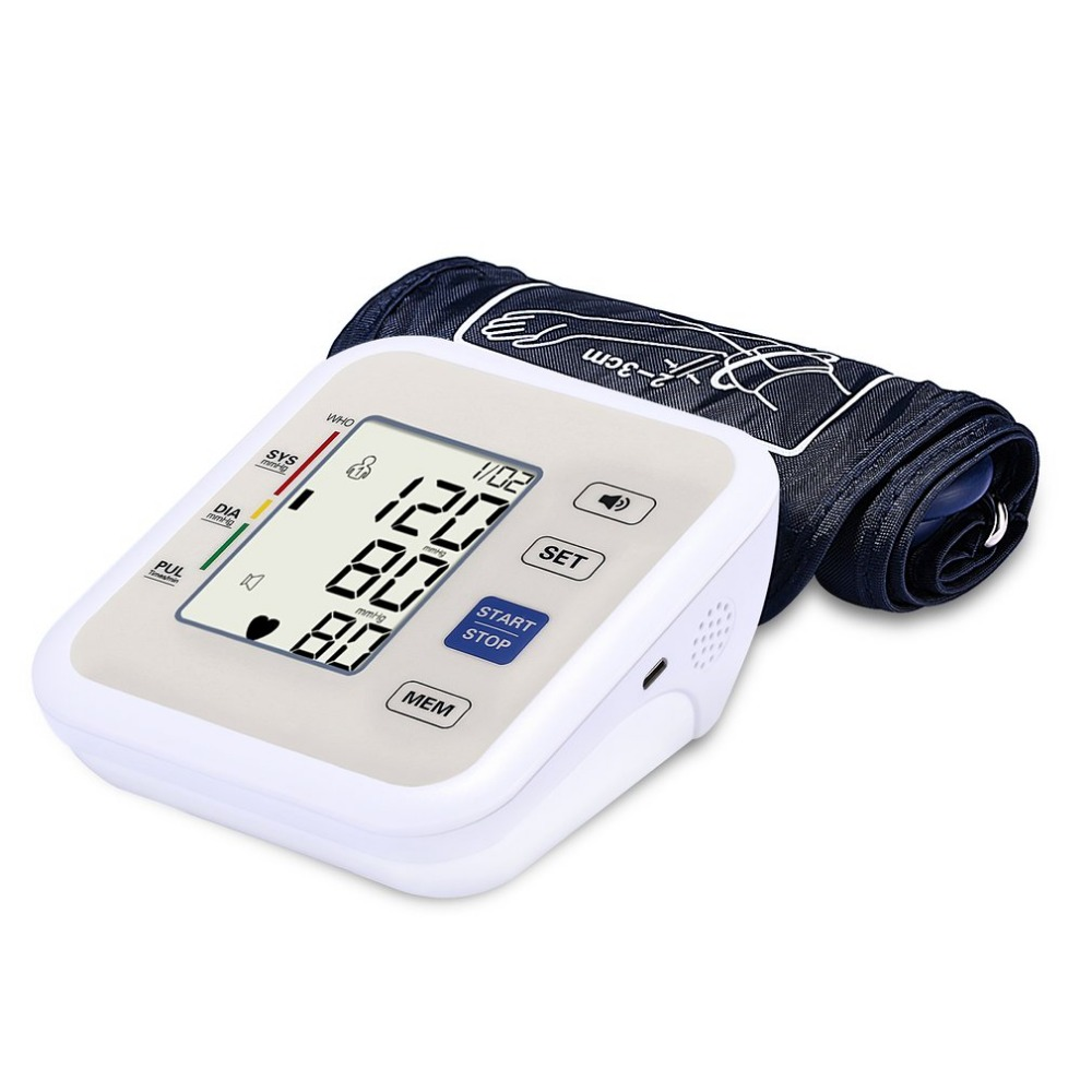 Automatic Upper Arm Style Electronic LCD Display Blood Pressure Monitor Voice Heart Beat Meter Household Sphygmomanometer upper arm type intelligent voice electronic sphygmomanometerthree color backlight blood pressure instrument household