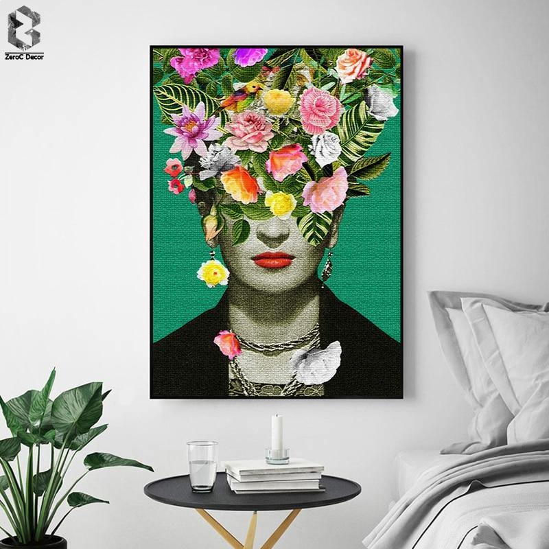 Frida Kahlo Blumendruck Leinwand Gemälde Poster, blume Wandbild für Wohnzimmer Selbstporträt