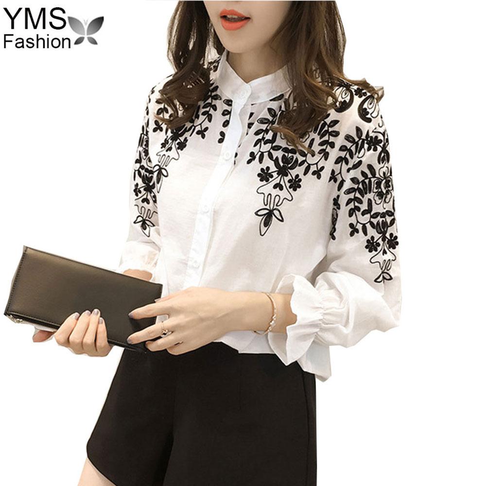 YIMOSI Women Cotton Blouse 2017 Femininas White Black Floral Embroidery Lady Shirts Female Plus Size 5XL Max Loose Casual Top