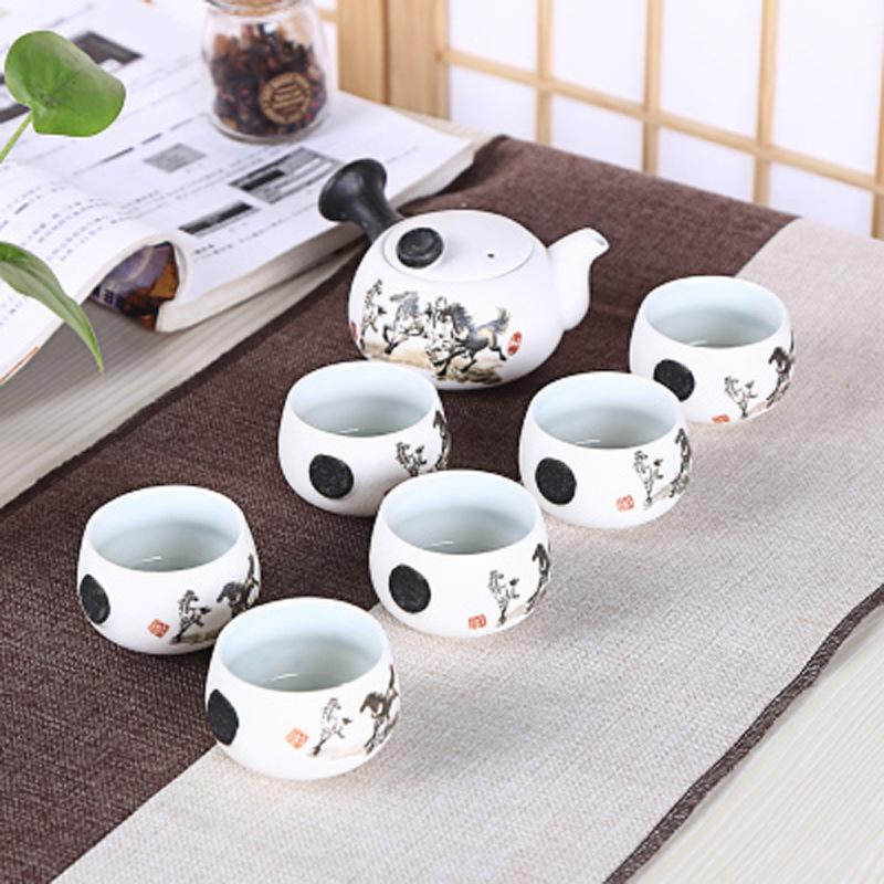 6Pcs Cute Handprint Lotus Tea Set Creative Kung Ku Teapot Cup Set Chinese Style Thick Pottery Teaware As Gifts6Pcs Cute Handprint Lotus Tea Set Creative Kung Ku Teapot Cup Set Chinese Style Thick Pottery Teaware As Gifts