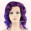 New Fashion Medium Purple Wavy Synthetic Lace Front  Wig Heat Resistant Hair Kanekalon Women Wigs Cheap Stylish High Quality