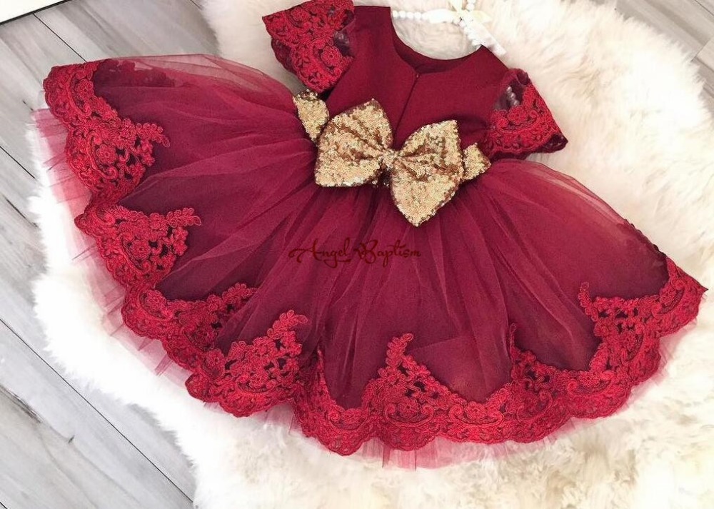 Cute Knee-length Burgundy lace tulle   Flower     Girl     Dresses   baby first Birthday kid prom party evening gown with golden sequin bow