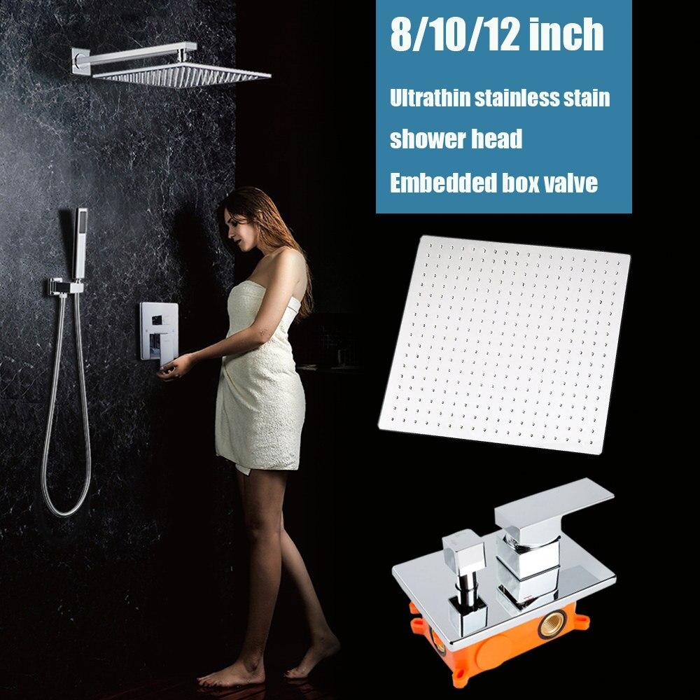 2 modi parete doccia a pioggia set bagno vasca da bagno doccia rubinetto valvola 8/10/12 pollice soffione doccia cromato con scatola da incasso