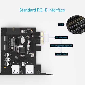 ORICO PVU3-2O2I Desktop 2 Port with VLI chipset USB3.0 PCI Express Card USB3.0 HUB Controller Adapter Card with 19Pin