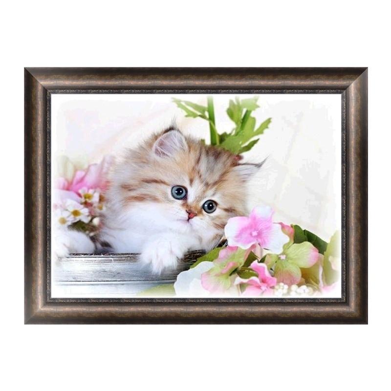 DIY diamante pintura Cruz puntada gato Cisne caballo paisaje costura ...