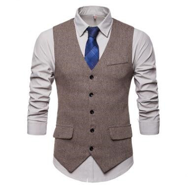 Men's Herringbone Single-Row Button Waistcoat Slim Warm V-Neck Smart Casual Tank Tops Pocket Single-Breasted Business Clothing