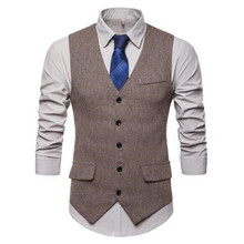 Men's Herringbone Single-Row Button Waistcoat Slim Warm V-Neck Smart Casual Tank Tops Pocket Single-Breasted Business Clothing v neck belt button up waistcoat