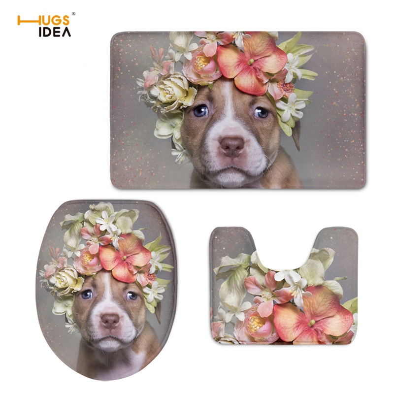 HUGSIDEA Animal Pit Bull Floral Toilet Seat Covers Warmable Cushion Pads Lid Bathroom Closestool Mat 3PCS Toilet Accessories Set