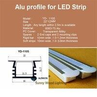 5-1 m of 30 adet led alüminyum profil, gömülü 3528 5050 5630 şerit için alu kanal, 8-11mm pcb, gömülü dolap sert şerit