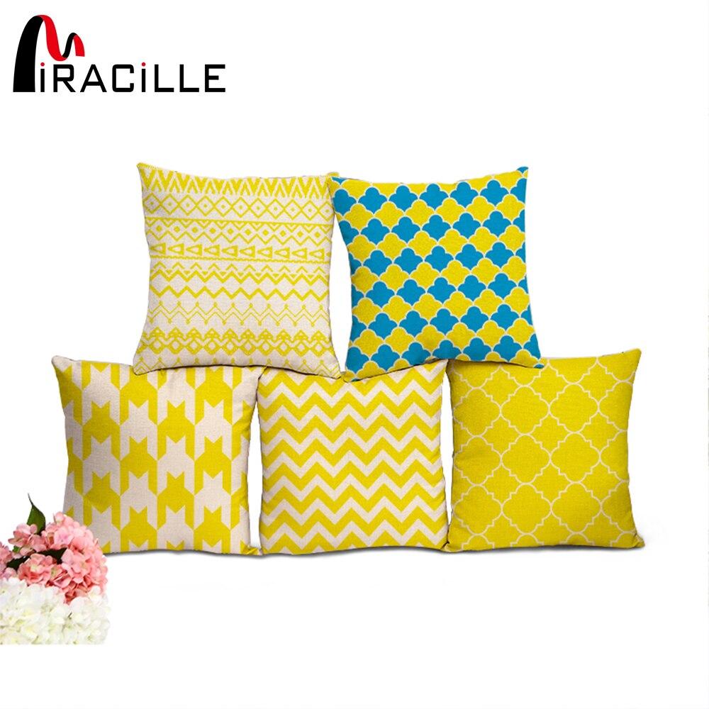 Miracille Bohemian Yellow Cushion Covers Nordic Geometric Print Home Decorative Throw Pillowcase Capa De Almofada Decorativa