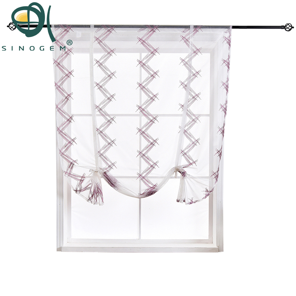Us 17 6 Sinogem Kitchen Short Curtain High End Modern Polyline Embroidery Roman Blinds Sheer Panel Tulle Window Treatment Door In Curtains