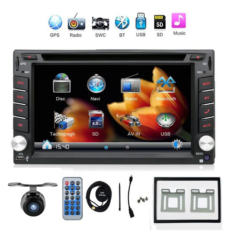 2din new universal car radio double 2 din car dvd player gps navigation in dash car pc stereo. Black Bedroom Furniture Sets. Home Design Ideas