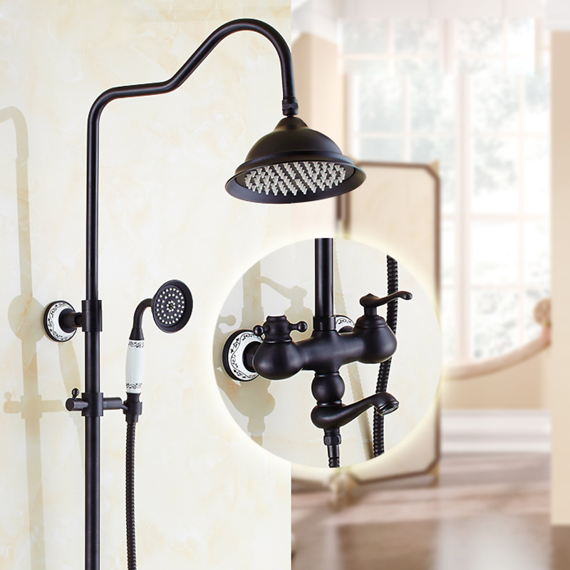 Oil Rubbed Bronze Wall Mounted Bathroom Shower Mixer Faucet with Brass Shower Head 20cm black oil rubbed bronze bathroom accessory wall mounted toothbrush holder with two ceramic cups wba197