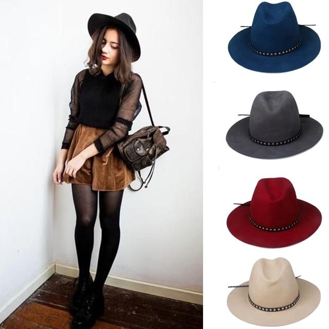 6 unids lote nueva moda mujeres hombres 100% lana Fedora sombrero fieltro  Panamá mujer a04985839a8