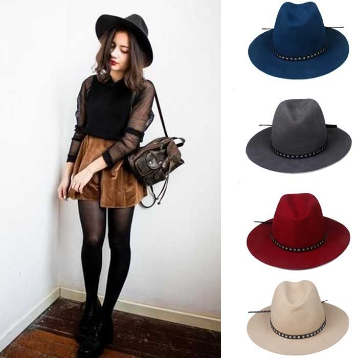 Detail Feedback Questions about 6PCS Lot New Fashion Women Men 100% wool  Fedora hat Felt Panama female Elegant Ladies hat Floppy Derby Trilby Cap  Wholesale ... f66ed87ed503