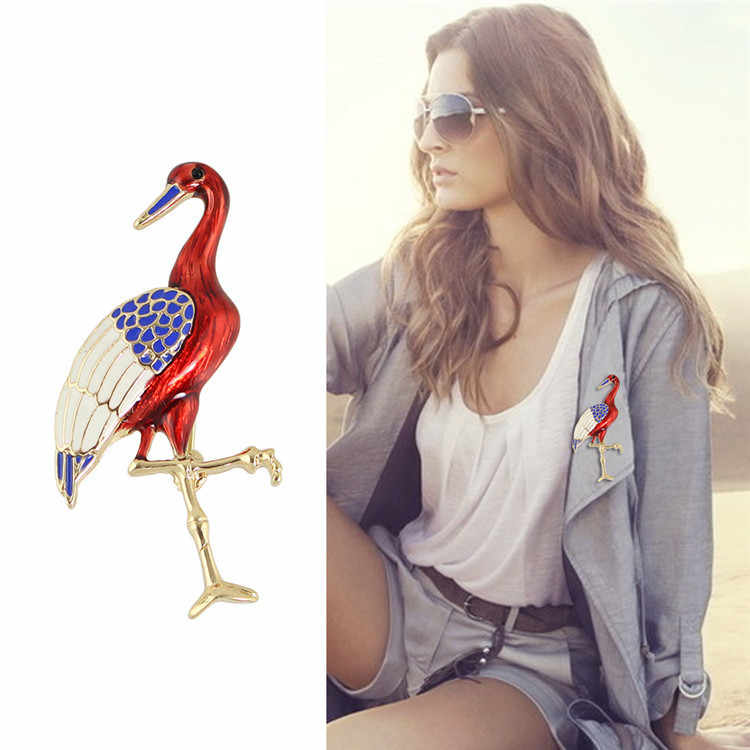Fashion Metal Flamingo Brooch for Collar Clothes Red-crowned Crane Brooches for Backpack Alloy Badges