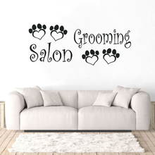 Pet Shop Decoration Dogs Grooming Salon Wall Sticker Animals Paws Decal Beauty Logo Mural Vinyl Art AY1213