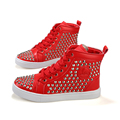 New 2016 Spring High Quality Fashion Men Boots High Top Walking Flat Shoes Personality Rivet Lace-up  Casual Red Bottom Shoes
