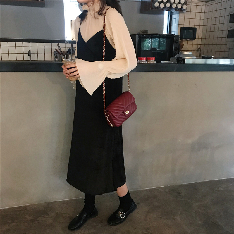 2 Pcs Autumn Dress Womens 2018 Vintage V Neck Sleeveless Dresses Womens+see Through Long Sleeve Chiffon Shirt  (K704)