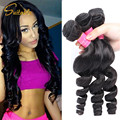 8A Peruvian Loose Wave Virgin Hair 3 Bundles Peruvian Virgin Hair Loose Wave Peruvian Curly Weave Cheap Human Hair Weave Bundles