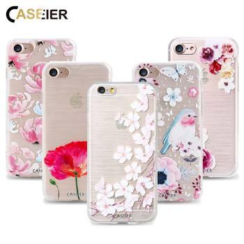 CASEIER étui pour iPhone 7 7 Plus housse motif fleurs colorées étui souple TPU pour iPhone 8 8 Plus cadre printemps Funda Capinha