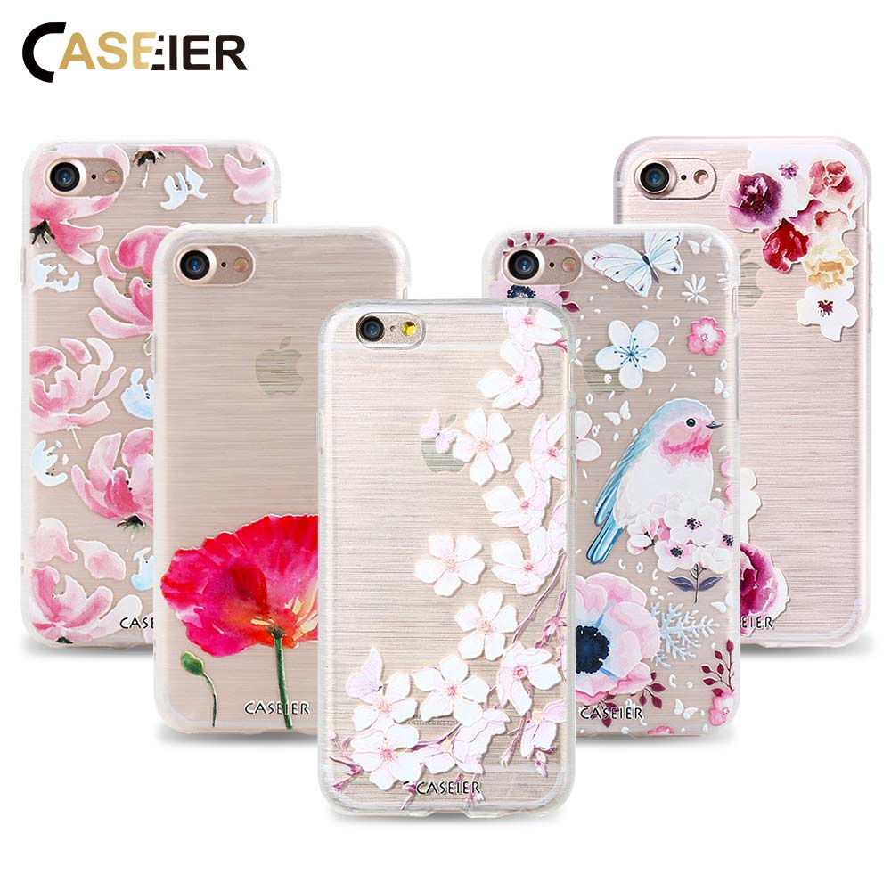 CASEIER Case For iPhone 7 Plus 6 6s 5 5s SE Cover Colorful Flowers Pattern Artist Print Soft TPU Frame Shell