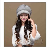 Free shipping Ms imported mink fur hats Female big six disc mink fur hats Leather whole fur cap In the winter