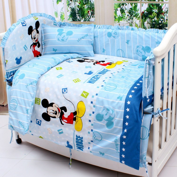Promotion! 6PCS Cartoon baby crib bedding set quilt one pieces bed around bumper (3bumpers+matress+pillow+duvet)