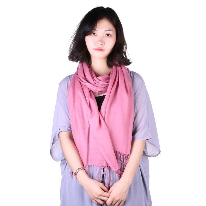 Fashion Women Solid Color Tassel Long Scarf Winter Warm Shawl Casual Decor