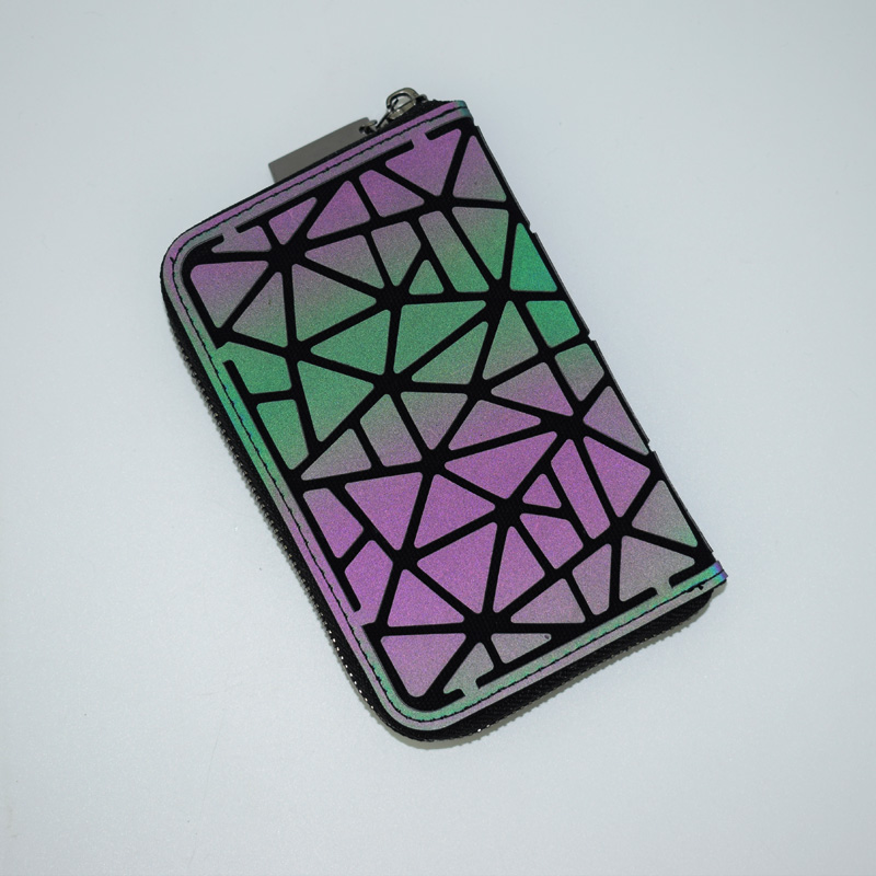 New Women Short Wallet Geometric Luminous Wallet Female Min Clutch Bags Standard Wallet Purse Card Holder Noctilucent Purse