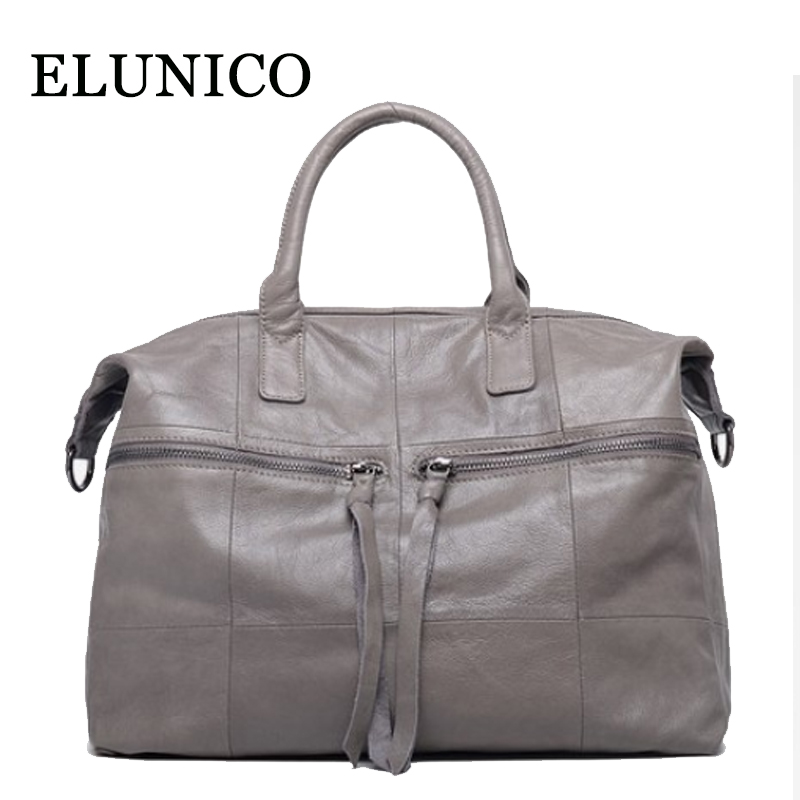ELUNICO 2018 Spring Ladies Large Capacity Genuine Leather Messenger Bag Luxury Handbags Women Bags Designer Tote Shoulder Bag 2017 luxury brand women handbag oil wax leather vintage casual tote large capacity shoulder bag big ladies messenger bag bolsa