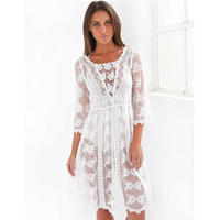 J342 Long Sleeve Sexy Lace Beautiful Summer Beach Dress 2017 Loose Holiday Woman Dress Hot New
