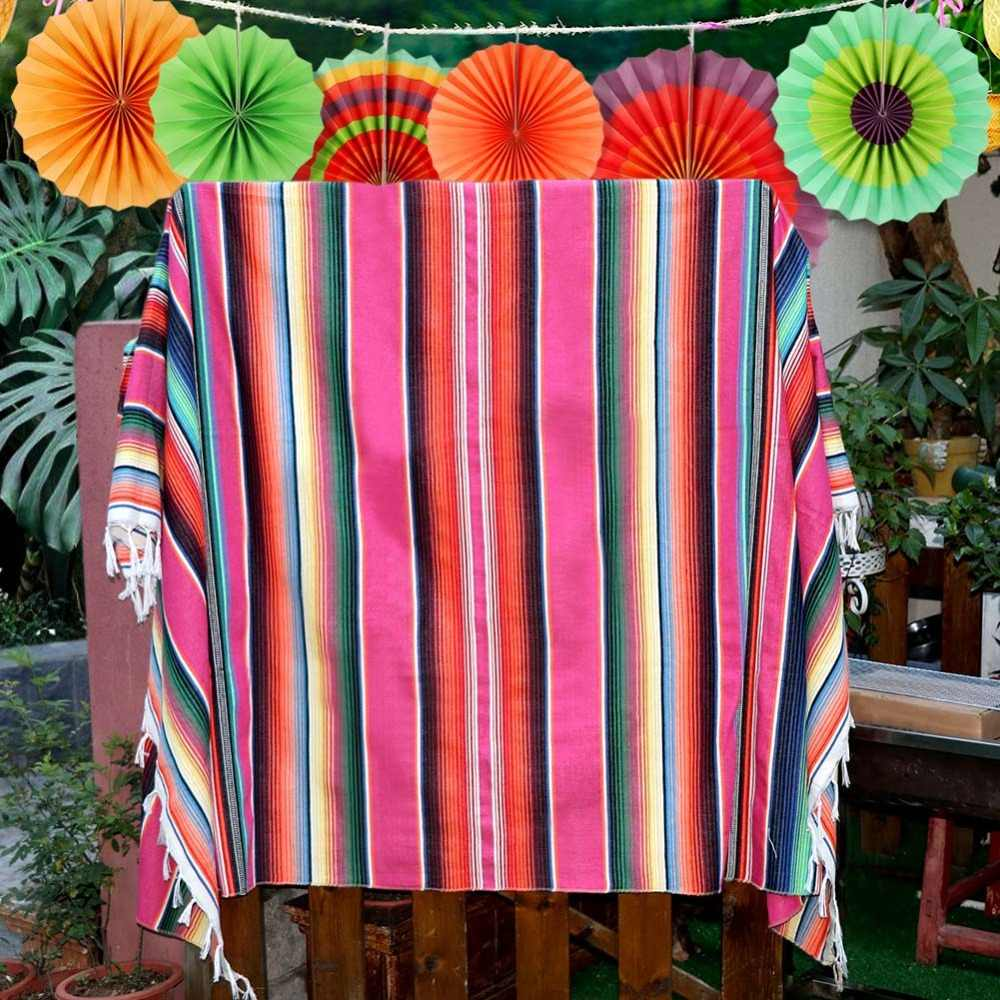 Fantastic Ourwarm Mexican Tablecloths Color Mixing Mexican Blanket Table Runner Cotton Wedding Baby Shower Party Supplies 150Cm 215Cm Download Free Architecture Designs Intelgarnamadebymaigaardcom