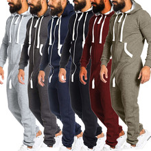 be7606fa380e Men s Unisex Jumpsuit One-piece garment Non Footed Long Sleeve Pajama  Playsuit Blouse Hoodie jumpsuits